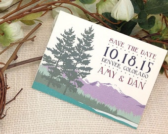 Wedding Save The Date Notecard with Envelope // Colorado Rocky Mountains // Purple and Emerald: Get Started Deposit
