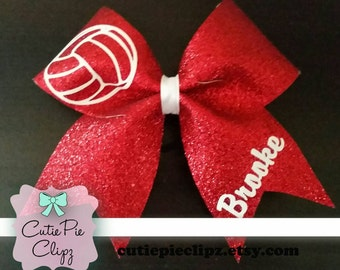 Full Glitter Volleyball Cheer Bow with Name