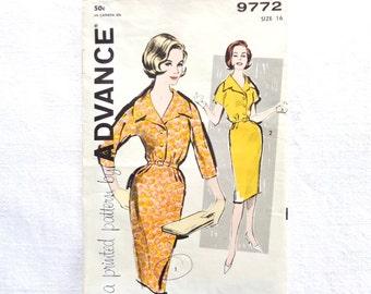 Vintage Advance Dress Pattern 9772 Size 16