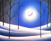 Snowy Landscape Painting Art Print, Winter Night Christmas Decor, Blue White Starry Night Sky with Full Moon, Giclee Print of Oil Painting
