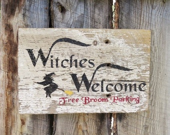 Halloween Chippy Paint Sign Rustic Halloween Sign Witches Welcome Sign Halloween Fall Decor Rustic Home Decor Halloween Decor Porch Decor