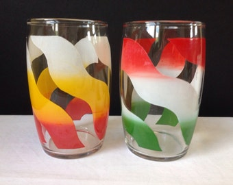 Wavy Striped Tumblers - Multicolored Glassware - Red, Green, White, Yellow - Set of Two