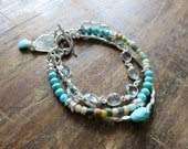 Brave Heart Sleeping Beauty Turquoise, Ancient Roman Glass Beads, Blue Topaz and Sterling Silver Multi Strand Bracelet