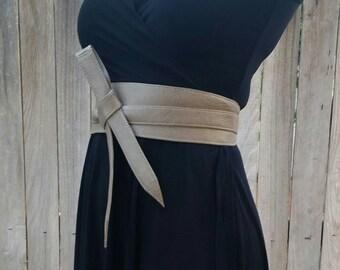 Neutral Leather Obi Belt -  Wide Wrap Belts - Tie Belts - Women Wraparounds - Urban Belts