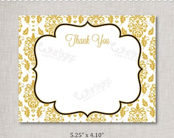 Gold Thank You Note INSTANT DOWNLOAD d.i.y. Printable PDF