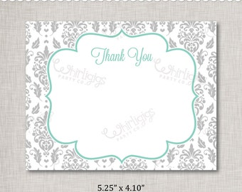 Grey/Mint Thank You Note INSTANT DOWNLOAD d.i.y. Printable PDF