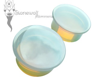 Opalite Glass Plugs for Stretched Ears Piercings Handmade in UK