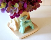 Vintage 1940's Morton Pottery Mint Green Baby Deer Fawn Tree Stump Planter Nursery Decor