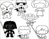 Star Heroes Clip Art Set -Personal and Limited Commercial- Trooper, Princess, Wars Black Line Clipart