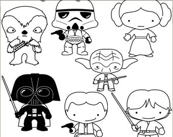 Star Heroes Clipart Set -Personal and Limited Commercial- Trooper, Princess, Wars Black Line Clip art