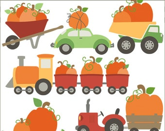 Pumpkin Clip Art Vehicles -Personal and Limited Commercial Use- dump truck, car, tractor, skateboard, train Clipart