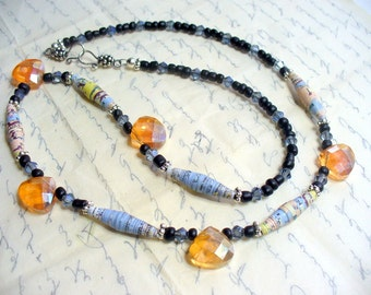 Recycled Road Map Paper Bead Necklace, Multi Color Paper Beads, Rolled Paper Bead Jewelry, Silver Jewelry, Paper Bead Necklace, Earth Day