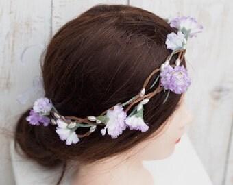 Hippie Flower Headband, Rustic Boho Wreath, Carnation Hair Accessory, Flower Girl Crown, Purple Spring Flower Crown