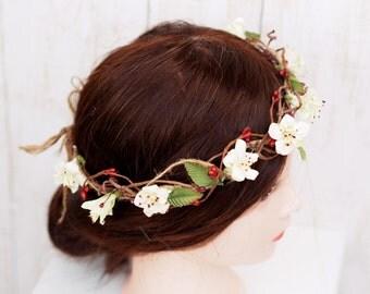 Wedding Floral Crown, Bridal Head Wreath, Flower Girl Wreath, Ivory Hair Crown, Woodland Floral Head Wreath