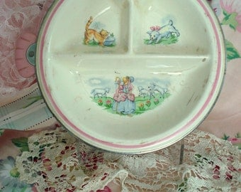 Vintage Bartsh Baby Divided Warming Dish 1940s Thermo-Plate Bo Peep Feeding Dish Chrome and Porcelain