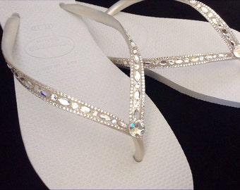Havaianas Slim White Crystal Rhinestone Beach Wedding Flip Flops Blushing Bride Custom w/ Swarovski jewels Beach Bridal Bling Reception Shoe