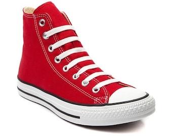 Custom Red Converse Ladies Mens High Top Wedding w/ Swarovski Crystal Rhinestone Bling Kicks Chuck Taylor Jewel All Star Girls Sneaker Shoes