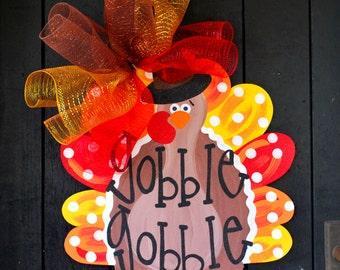Turkey Door Hanger, Turkey Wreath, Door Decor, Thanksgiving Decor, Door Decoration