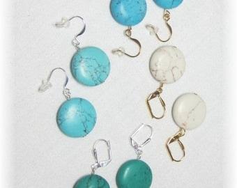 Turquoise Earrings Coin Bead Earrings Dangle Beaded Round Beads