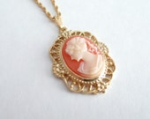 Gold and Peach Coral Cameo Vintage Necklace