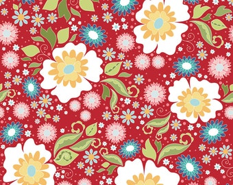 "Riley Blake Designs ""Apple of My Eye"" by The Quilted Fish - Main Red - 1/2 yard"