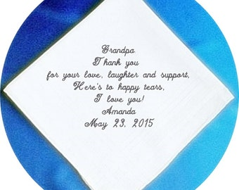 Grandfather of the  Bride  Heirloom Embroidered, Personalized Hanky, Gift, Handkerchief