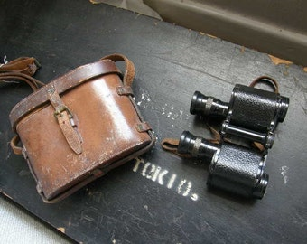 Antique 1910 army pattern stereo binoculars with leather case,, Free uk postage