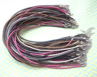 60 pcs 3mm 16-18 inch adjustable assorted color(6 colors) faux braided leather necklace cord with white k fittings