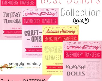 Sublime Stitching Embroidery Patterns Best Seller Collection, Embroidery Kit, Modern Hand Embroidery Design Set