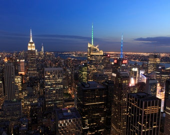 NYC Skyline Photograph - New York City Night - Landscape Print - Times Square, Empire State Building, Manhattan, New York From Above