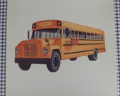 Vintage Large School Bus Picture Flash Card || Peabody Picture Collection || Children's Decor, Assemblage, Altered Art, Collage, Scrapbook