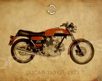 DUCATI 750GT 1973, See the Ducati serie, Art Print 14x10 in and more. trending home decor