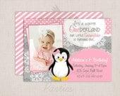 Winter ONEderland Girly Penguin Pink & Grey Birthday Party Printable Invitation Digital File