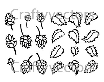 Hops and Leaves Vector File SVG