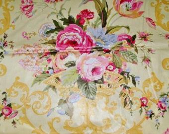 BRUNSCHWIG & FILS TESSA English Country Chintz Fabric 10 Yards Cream Shabby Rose Blue Multi