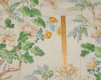 LEE JOFA KRAVET Chinoiserie Peony Tree Toile Linen Fabric 10 Yards Cream Beige Blue Goldenrod