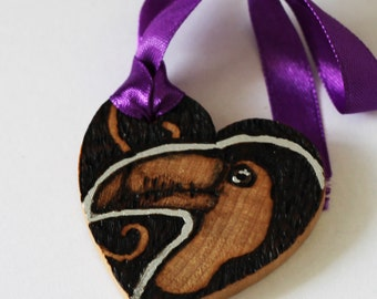 Pyrography Wood Burning -  Toucan Bird Love Token - Wooden Heart Gift
