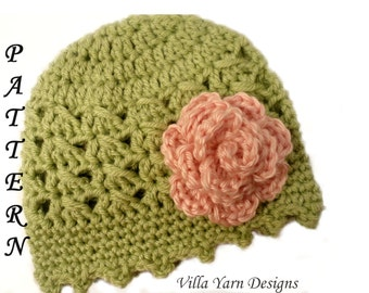 Crochet Baby Hat Pattern with Flower, Baby Girl Crochet Hat, Newborn to 12 Months, Baby Hat Pattern, Crochet Pattern,Permission to Sell, #68