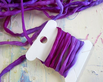 Hand Dyed Silk Ribbon - Silk Cord - couching cord - felting supplies - Pink and Purple