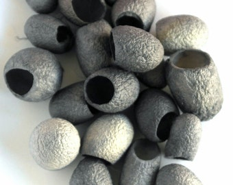 Silk Cocoons - Silver Grey - Art and Craft - Tassels - Jewelry Supplies