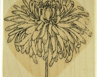 Chrysanthemum Flower Rubber Stamp (Medium) by Dragonflylaser
