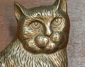 Brass cat door knocker - vintage