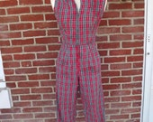 1950s rockabilly jumpsuit in cotton plaid seersucker print sz sm