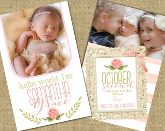 Birth Announcement, Watercolor Birth Announcement, Laurel Birth Announcement, Photo Birth Announcement
