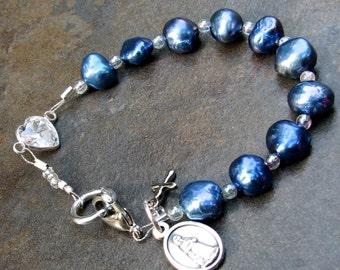 Decade rosary bracelet   unique rosaries   catholic rosarys   handmade   wristlet   holder   crucifix   blue