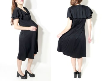 Vintage Black Dress / Flared Dress / Pregnant Dress / Large Dress / Black Loose Dress / Black Midi Dress / 70s Dress / Bohemian Dress