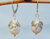 Large Pearl Earrings - Silver Leaf Earrings- Large Baroque Freshwater Pearl Earrings