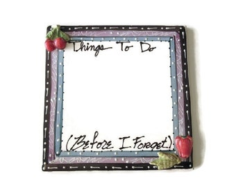 "To Do List - Dry Erase Board - Permanent to Do List - Ceramic Tile  - Vintage 80s or 90s -  Eco / Environment  friendly - 7 3/4"" x 7 3/4"""