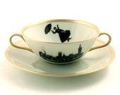 Altered  Mary Poppins Cereal  Mug Soup Bowl Saucer Porcelain London Nanny Big Ben Sugarwhite Brown Romantic