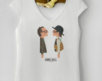Annie Hall. Women's T-shirt. Short sleeve. 100% Top Quality Cotton. Digital printed. Gift. Birthday. Woody Allen film. Tutticonfetti